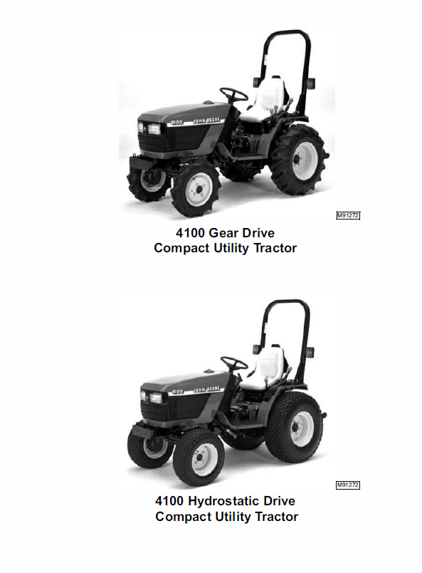 John Deere 4100 Compact Utility Tractors Technical Manual TM-1630