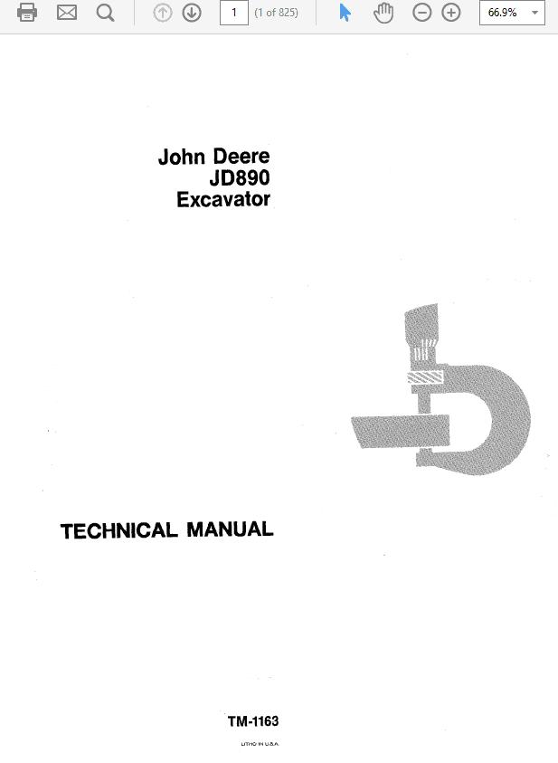 John Deere 890 Excavator Technical Manual TM-1163