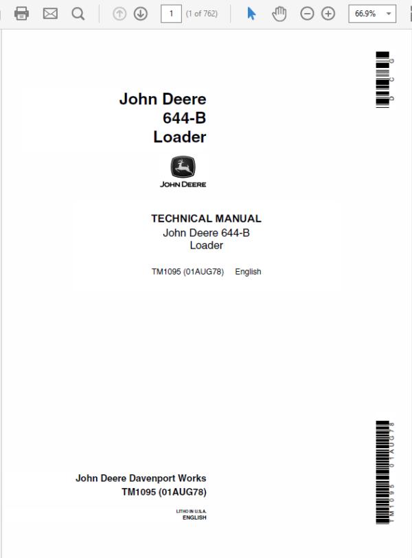 John Deere 644B Loader Service Manual