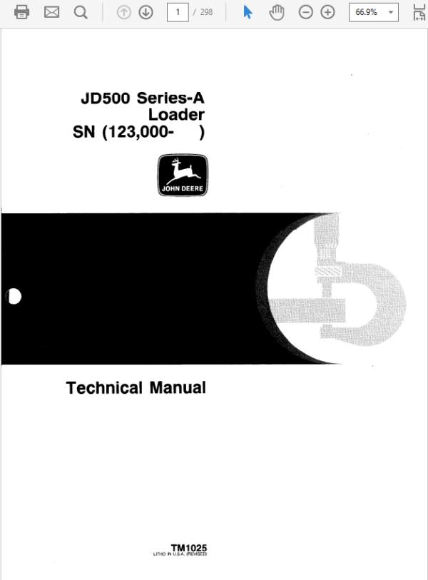 John Deere 500A Loader Technical Manual TM-1025