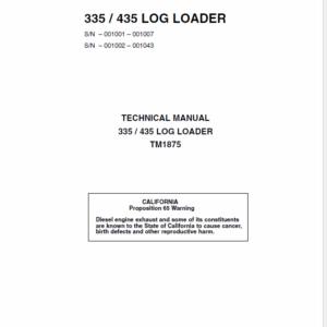 John Deere 335, 435 Log Loader Technical Manual TM-1875