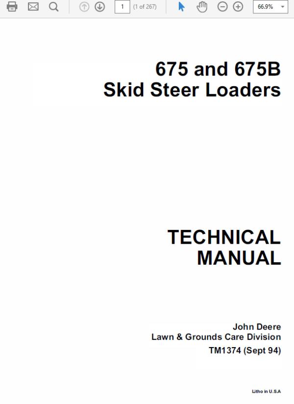 John Deere 675, 675B Skid-Steer Loader Technical Manual TM-1374