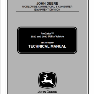 John Deere ProGator 2020, 2030 Utility Vehicle Technical Manual TM-1759