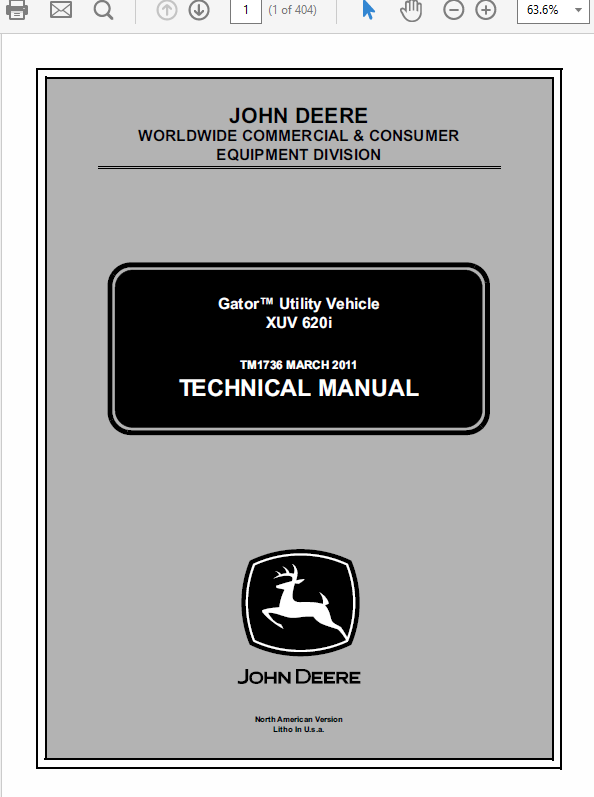 John Deere XUV 620i Gator Utility Vehicle Technical Manual TM-1736