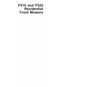 John Deere F510, F525 Front Mowers Technical Manual TM-1475
