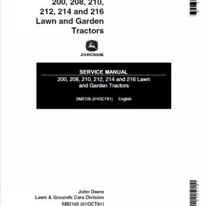 John Deere 200, 208, 210, 214, 216 Lawn and Garden SM-2105