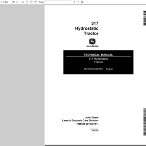 John Deere 317 Hydrostatic Tractor Technical Manual TM-1208