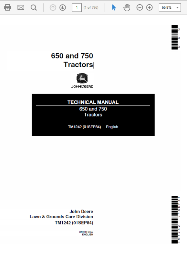 John Deere 650 and 750 Tractors Technical Manual TM-1242