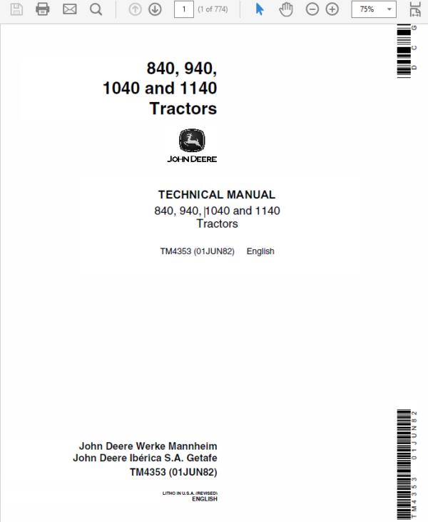 John Deere 840, 940, 1040, 1140 Tractors Technical Manual TM-4353
