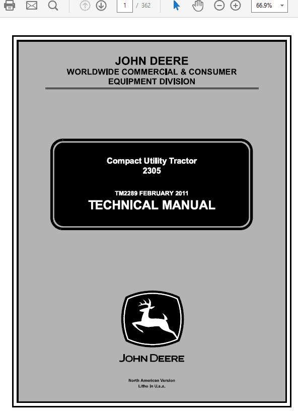 John Deere 2305 Tractor Service Manual