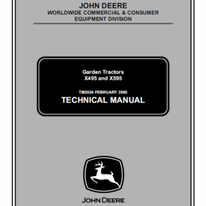 John Deere X495 and X595 Garden Tractors Technical Manual TM-2024