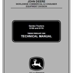 John Deere G100 and G110 Garden Tractors Technical Manual TM-2020