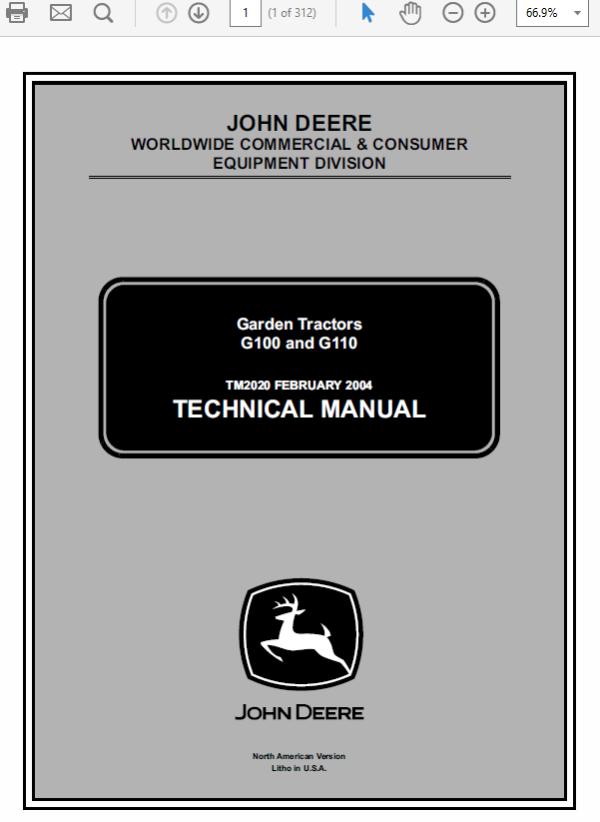 John Deere G100 and G110 Garden Tractors Technical Manual TM-2020