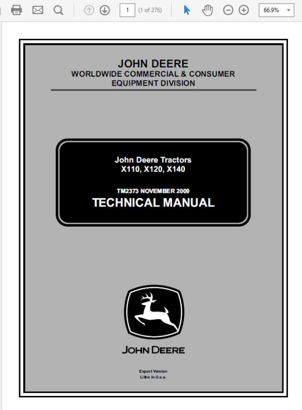 John Deere X110, X120, X140 Tractors Technical Manual TM-2373