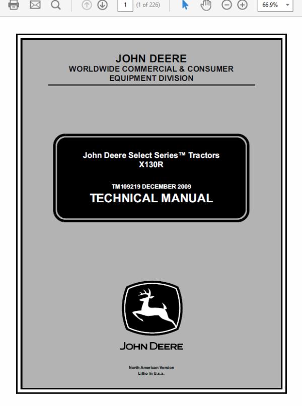 John Deere X130R Tractors Manual TM-109219