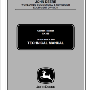John Deere GX355 Garden Tractor Technical Manual TM-1974