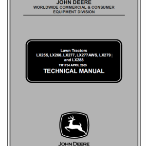 John Deere LX255, LX266, LX277, LX277AWS, LX279, LX288 Technical Manual TM-1754