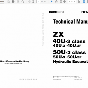 Hitachi ZX40U-3 and ZX50U-3 Excavator Technical Manual