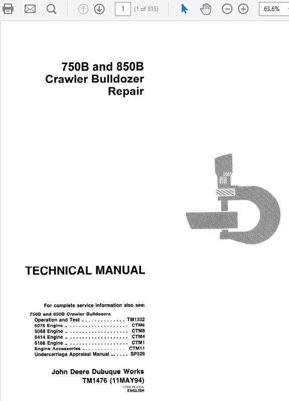 John Deere 750B, 850B Crawler Bulldozer Repair Manual TM-1476 & TM-1332