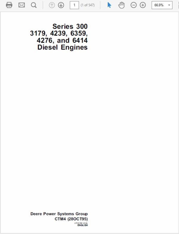 John Deere 300 Engine Technical Workshop Service Manual TM-1190