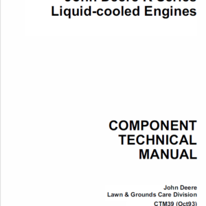 John Deere K Series Air Cooled & Liquid Cooled Engines Manual CTM5, CTM39
