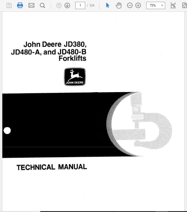 John Deere 380, 480A, 480B Forklift Technical Manual TM-1060