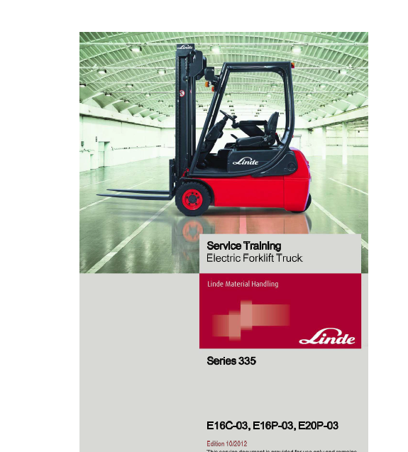 Linde Type 335-02 E-Series Electric Forklift Truck: E14, E16C, E18P, E20P manual