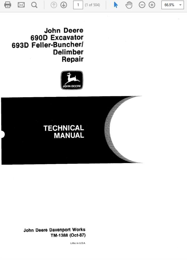 John Deere 690D, 693D Excavator Technical Manual TM-1387 & TM-1388