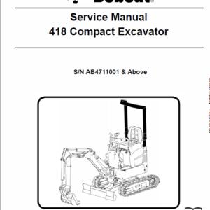Bobcat 418 Compactor Excavator Service Manual