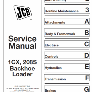 JCB 1CX 208S Backhoe Loader Service Manual