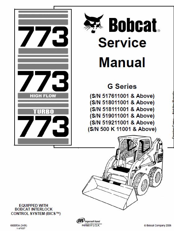 Bobcat 773 G-Series Skid-Steer Loader Manual