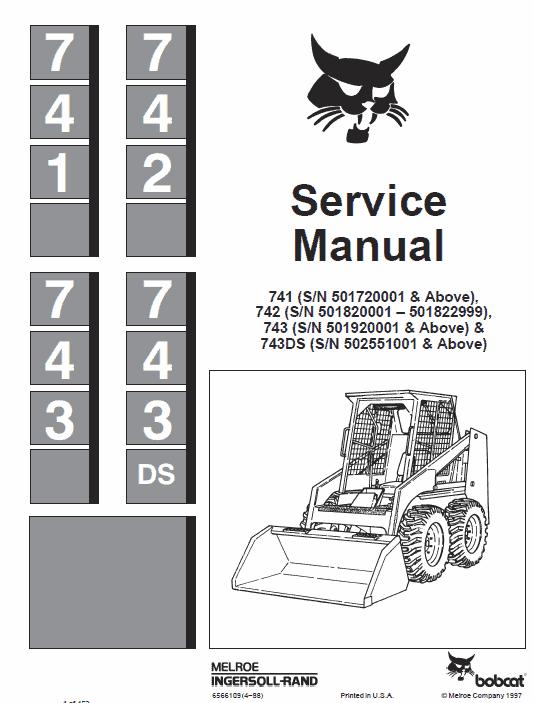 Bobcat 741, 742, 743ds and 743 Skid-Steer Loader manual