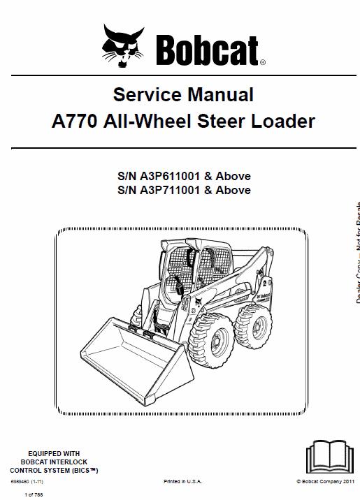 Bobcat A770 Skid-Steer Loader Service Manual