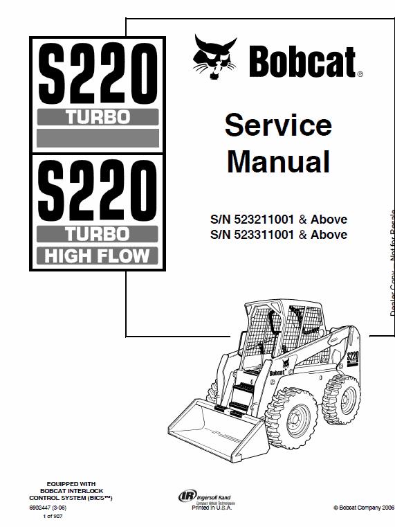 Bobcat S220 Turbo Skid-Steer Loader Service Manual