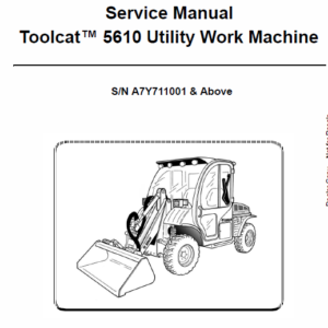 Bobcat 5610 Toolcat Utility Vehicle Schematics, Operating and Service Manual