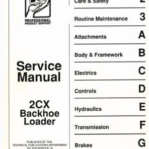 JCB 2CX Backhoe Loader Service Manual