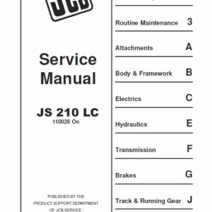 JCB JS210 LC Tracked Excavator Service Manual
