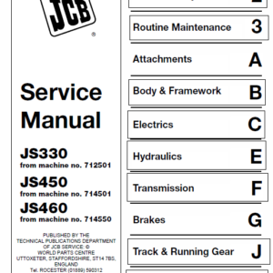 JCB JS330, JS450, JS460 Manual Tracked Excavator Service Manual