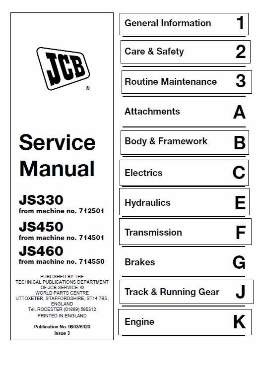 JCB JS330, JS450, JS460 Manual Tracked Excavator Service Manual