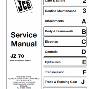 JCB JZ70 Tracked Excavator Service Manual