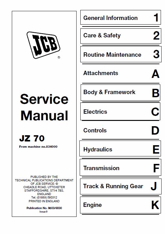 JCB JZ70 Tracked Excavator Service Manual