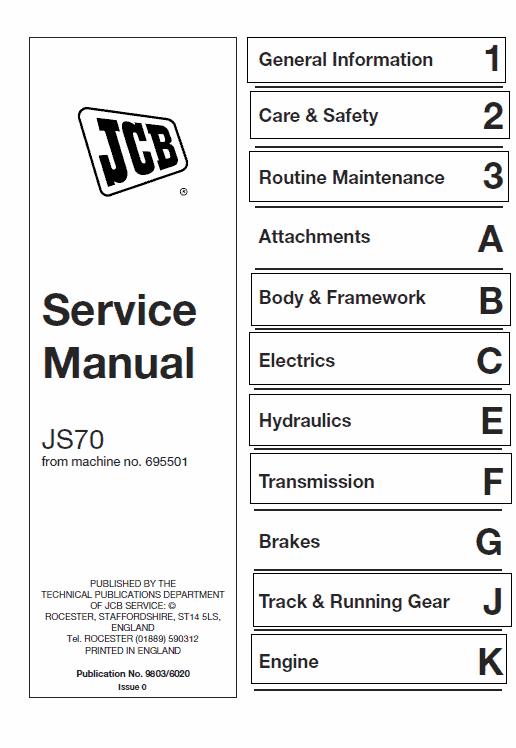 JCB JS70 Tracked Excavator Service Manual