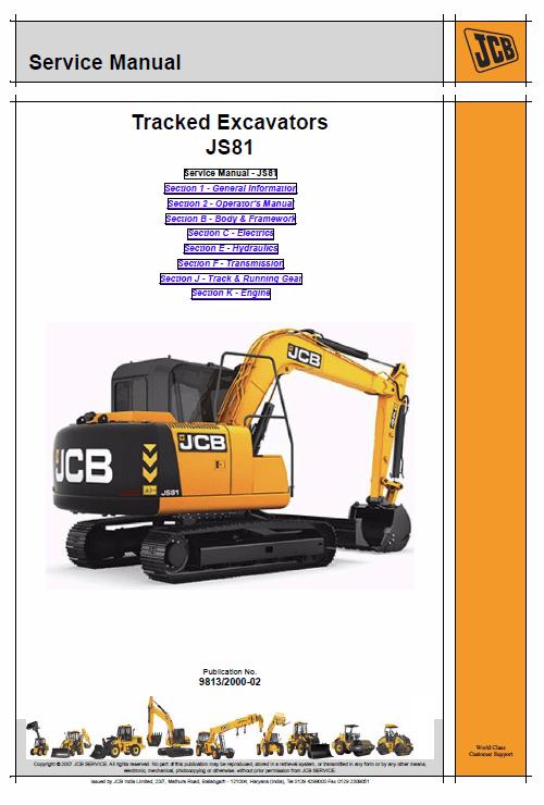 JCB JS81 Tracked Excavator Service Manual