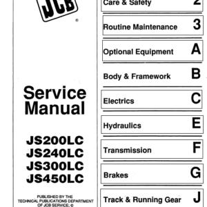 JCB JS200LC, JS240LC, JS300LC, JS450LC Excavator Service Manual