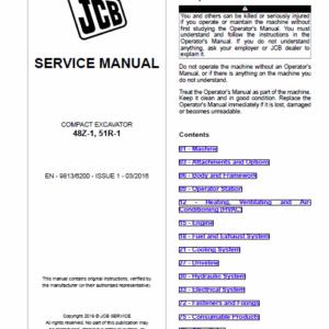 JCB 48Z-1, 51R-1 Compact Excavator Service Manual