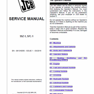 JCB 55Z-1, 57C-1 Mini Excavator Service Manual