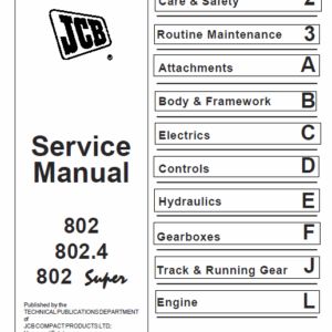 JCB 802, 802.4, 802 Super Mini Excavator Manual