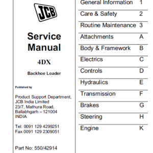 JCB 4DX Backhoe Loader Service Manual