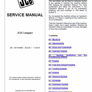 JCB 3CX Compact Backhoe Loader Service Manual