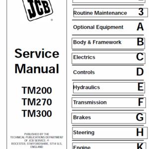 JCB TM200, TM270, TM300 Wheeled Loader Shovel Service Manual